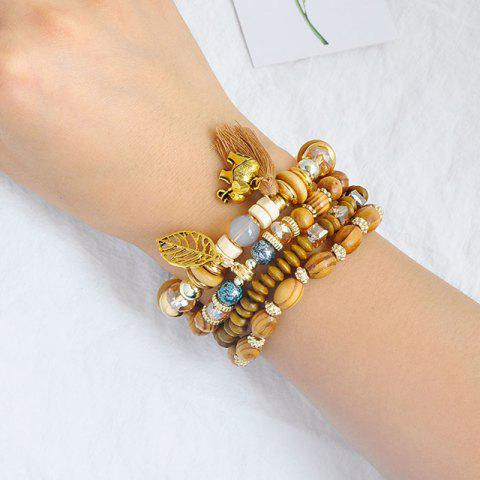 Buy Elephant Leaf Tassel Wooden Beaded Bracelet Set - COFFEE  Mobile