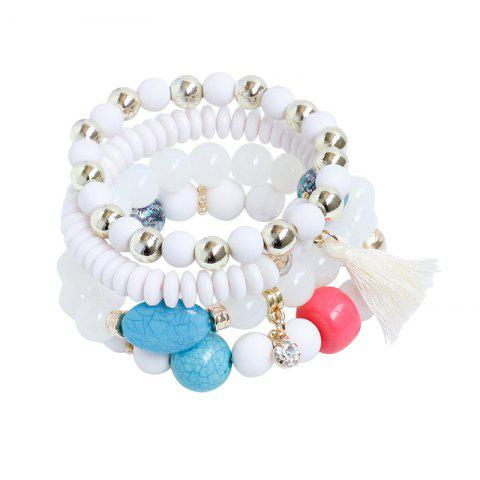 Latest Rhinestone Tassel Beaded Charm Bracelet Set WHITE