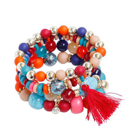 Outfits Rhinestone Tassel Beaded Charm Bracelet Set - COLORMIX  Mobile