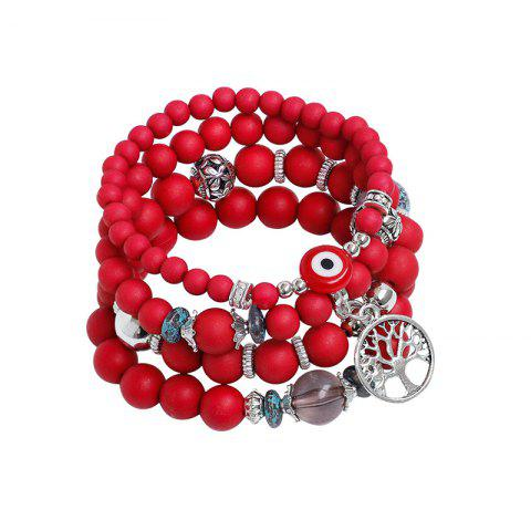 Shop Tree of Life Beaded Charm Bracelet Set - RED  Mobile