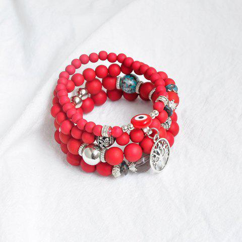 Chic Tree of Life Beaded Charm Bracelet Set - RED  Mobile