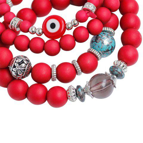 Discount Tree of Life Beaded Charm Bracelet Set - RED  Mobile