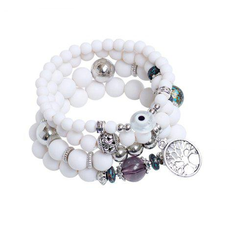Hot Tree of Life Beaded Charm Bracelet Set - WHITE  Mobile