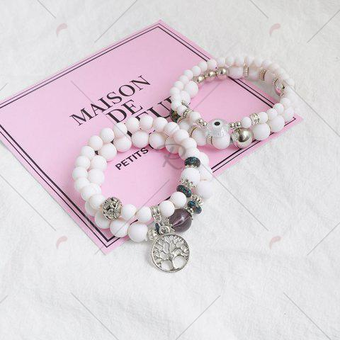 Chic Tree of Life Beaded Charm Bracelet Set - WHITE  Mobile