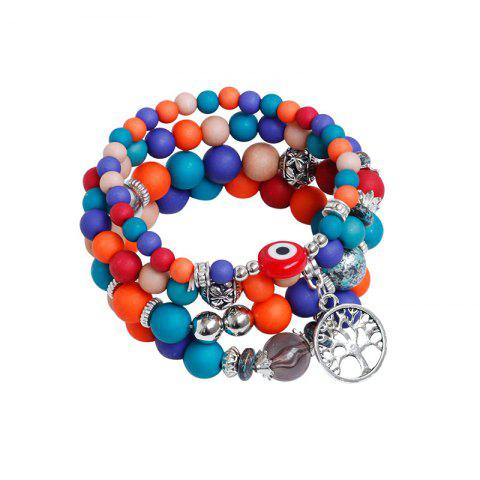 Chic Tree of Life Beaded Charm Bracelet Set - COLORMIX  Mobile