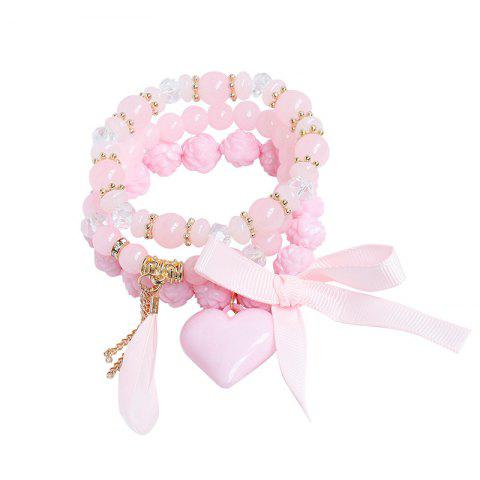 Trendy Heart Ribbon Feather Charm Beaded Bracelet Set - PINK  Mobile