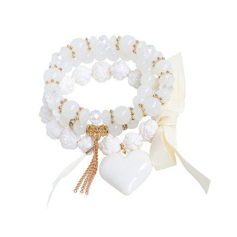 Shops Heart Ribbon Feather Charm Beaded Bracelet Set WHITE