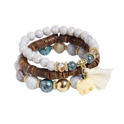 Discount Tassel Jade Elephant Beaded Wooden Bracelet Set - WHITE  Mobile