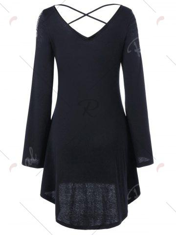 Outfit Openwork Long Sleeve High Low Hem Dress - 2XL BLACK Mobile
