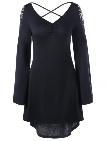 Openwork Long Sleeve High Low Hem Dress - Black - 2xl