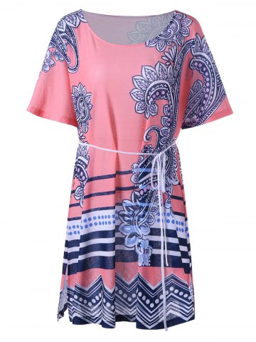 Trendy Paisley Flapper Tee Dress - M PINK Mobile