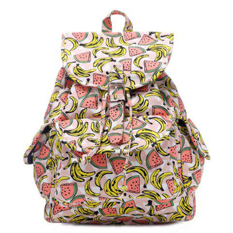 Shop Canvas Fruit Printed Backpack PINK