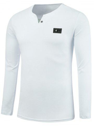 Store Notch Neck Long Sleeve Patch Tee WHITE 3XL