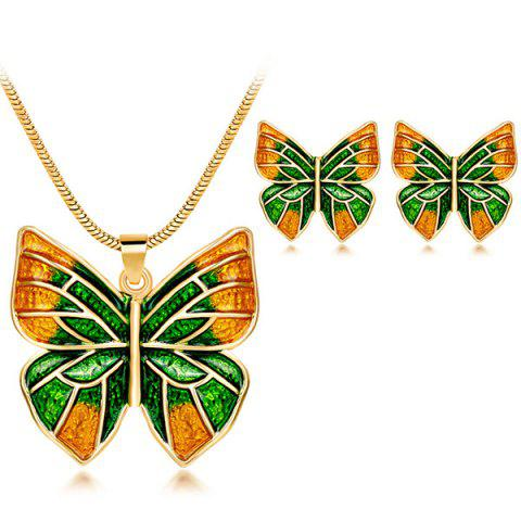 Retro Enamel Butterfly Pendant Jewelry Set - Green