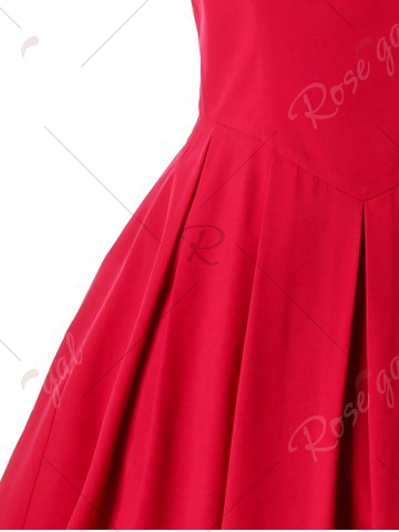 Outfit Cocktail Sleeveless Lace Trim Vintage Dress - M RED Mobile