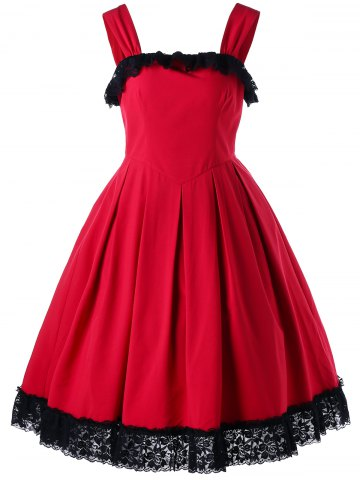 Fancy Cocktail Sleeveless Lace Trim Vintage Dress - M RED Mobile