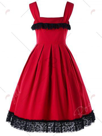 Trendy Cocktail Sleeveless Lace Trim Vintage Dress - M RED Mobile