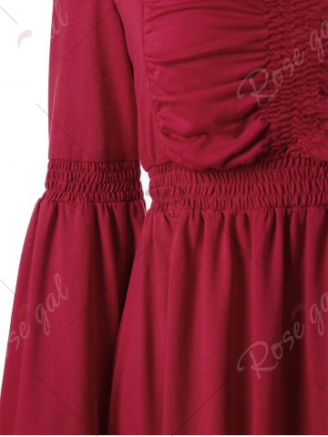 New Sweetheart Flare Sleeve Vintage Dress - M RED Mobile