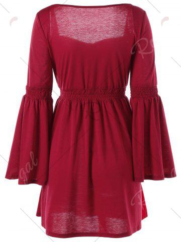 Discount Sweetheart Flare Sleeve Vintage Dress - M RED Mobile
