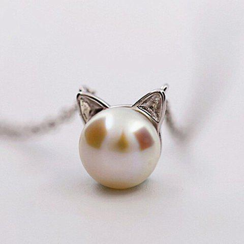 Faux Pearl Kitten Tiny Charm Necklace - Silver