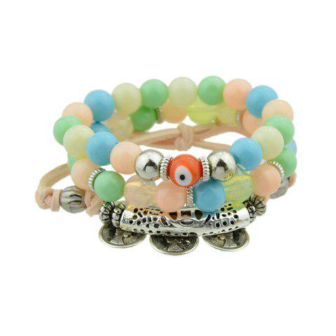 Buy Coin Eye Charm Beaded Bracelet Set - COLORMIX  Mobile