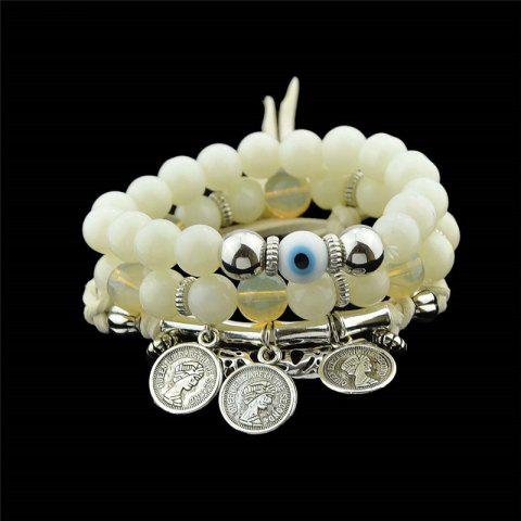 Trendy Coin Eye Charm Beaded Bracelet Set - WHITE  Mobile