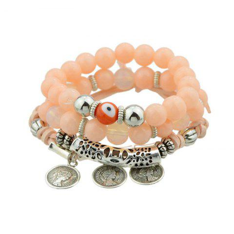 Outfit Coin Eye Charm Beaded Bracelet Set - ORANGE  Mobile