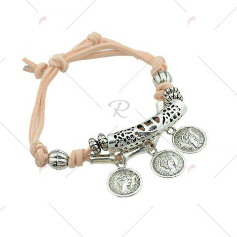 Online Coin Eye Charm Beaded Bracelet Set - ORANGE  Mobile
