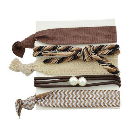 Fashion Artificial Pearl Bows Elastic Hair Band Set - BROWN  Mobile