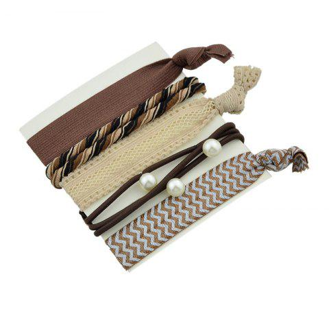 Shops Artificial Pearl Bows Elastic Hair Band Set - BROWN  Mobile