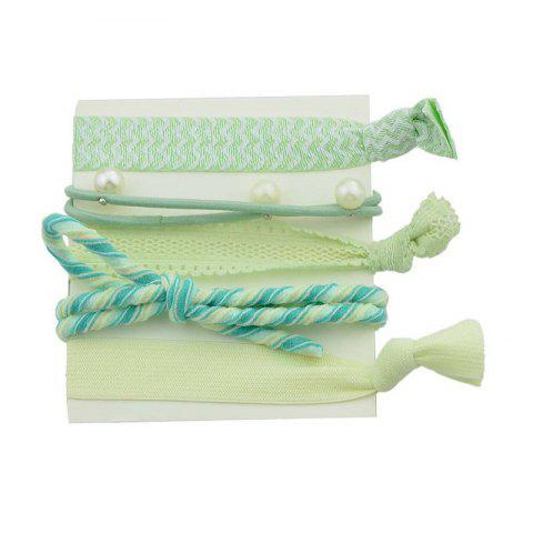 Hot Artificial Pearl Bows Elastic Hair Band Set - GREEN  Mobile