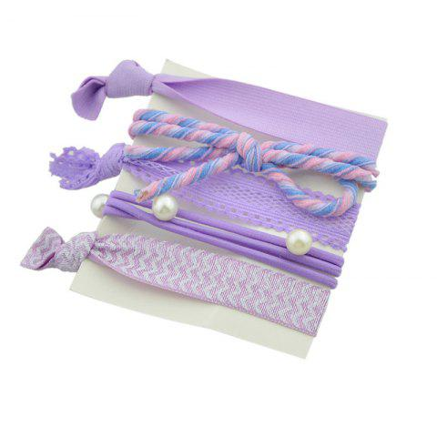 Hot Artificial Pearl Bows Elastic Hair Band Set - PURPLE  Mobile
