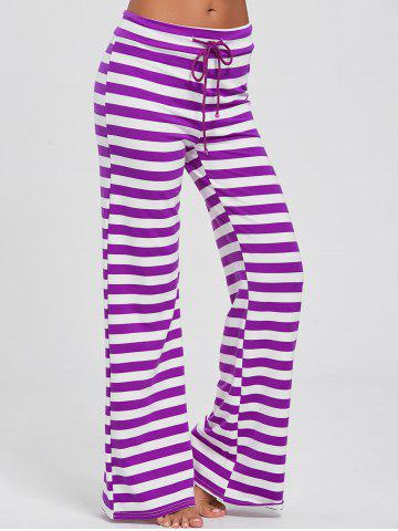 Sale Stripe Wide Leg Pants PURPLE S