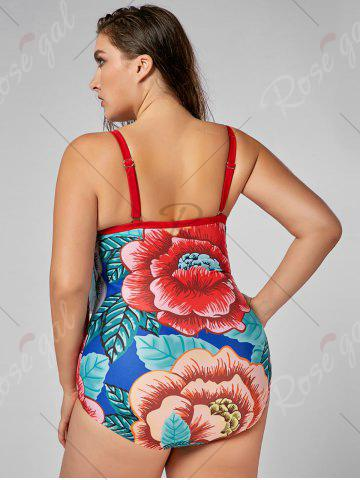 Latest Floral Flounce Plus Size Padded Control One Piece Swimsuit - XL FLORAL Mobile