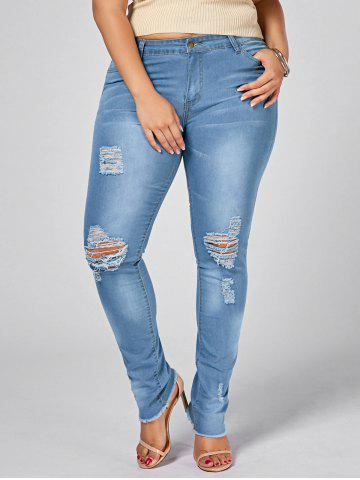 Light Wash Plus Size Ripped Jeans - Denim Blue - 3xl