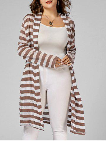 Fashion Stripe Open Front Longline Plus Size Coat - 3XL STRIPE Mobile