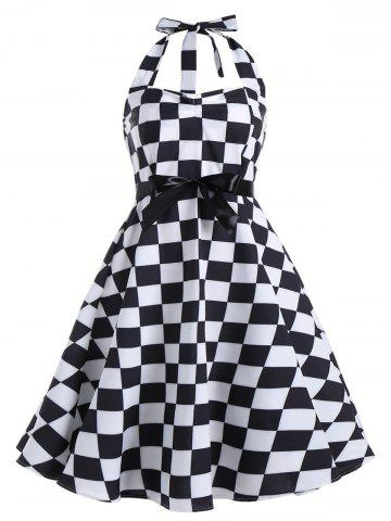 Checked Print Plus Size Halter Vintage Dress - Black White - 5xl