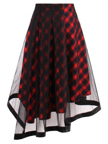 Sheer Yarn Insert Tartan Asymmetrical Midi Skirt - Red - S