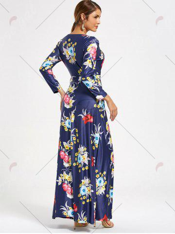 Buy Flower Print V Neck Surplice Maxi Dress - S DEEP BLUE Mobile