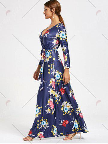 Store Flower Print V Neck Surplice Maxi Dress - S DEEP BLUE Mobile