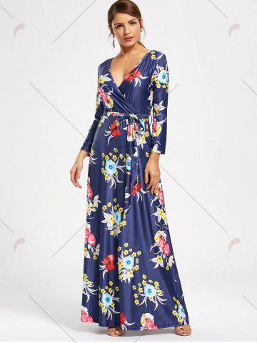 Sale Flower Print V Neck Surplice Maxi Dress - S DEEP BLUE Mobile