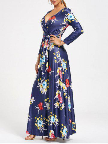Cheap Flower Print V Neck Surplice Maxi Dress - S DEEP BLUE Mobile
