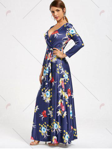 Fancy Flower Print V Neck Surplice Maxi Dress - S DEEP BLUE Mobile
