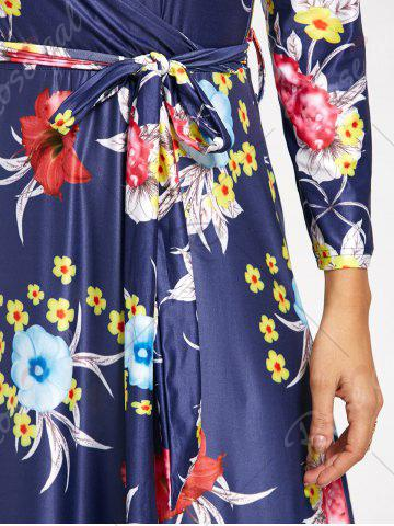 Hot Flower Print V Neck Surplice Maxi Dress - S DEEP BLUE Mobile