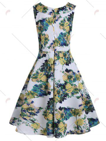 Best Flower Ink Painting Printed Vintage Dress - M COLORMIX Mobile