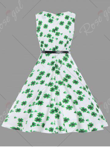 Affordable Fit and Flare Vintage Clover Print Dress - S WHITE Mobile