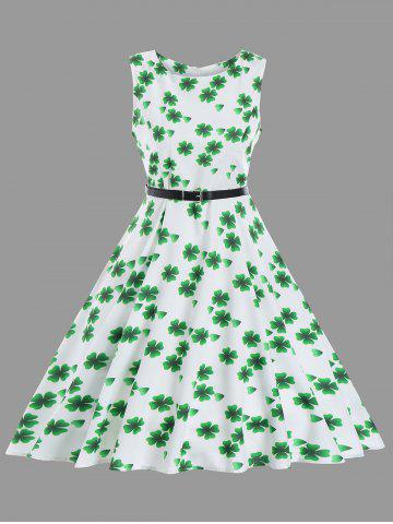 Discount Fit and Flare Vintage Clover Print Dress - S WHITE Mobile