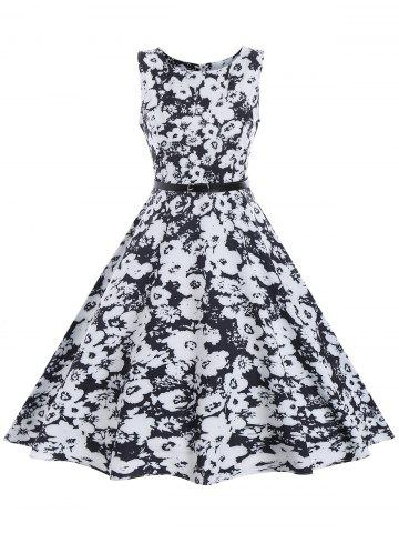 Store Vintage Floral Sleeveless A Line Dress - M BLACK Mobile