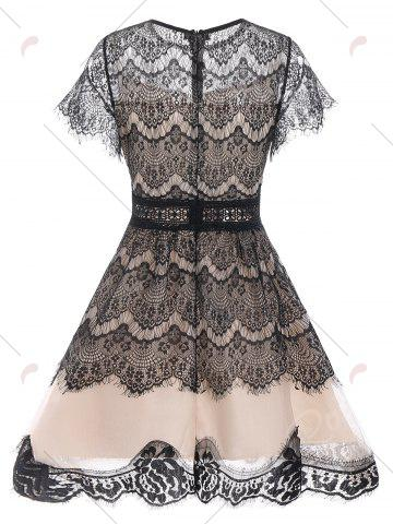 Affordable Lace A Line Waisted Dress - M BLACK Mobile