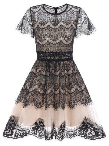 Discount Lace A Line Waisted Dress - M BLACK Mobile